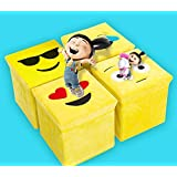 ShopyBucket Emoji Collapsible Non Woven Velvet Fabric Soft Decorative Clothes Storage Cubes(Pack Of 4)-Design May Vary