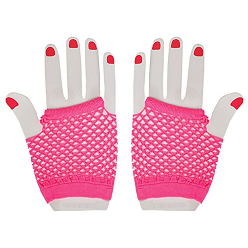 Neon Fishnet Fingerless Wrist Gloves Party Accessory - Hot Pink - 1