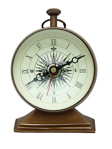 Christmas Thanksgiving Gifts Nautical Metal Table Clock Vintage Style Compass Wrought Iron Round Clock with Stand Home Office Desk Decor (Big Wrought Iron Clock compare prices)