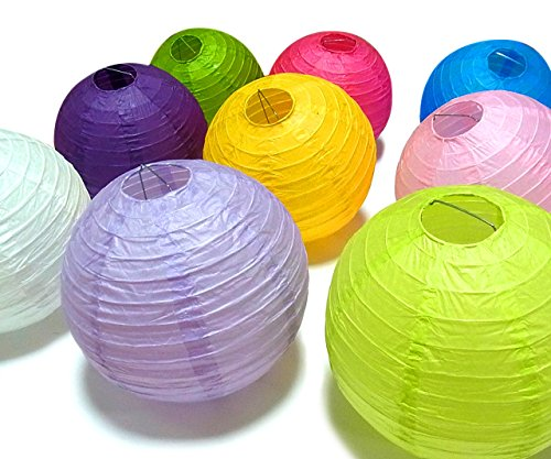 "Cozyswan 10 pezzi 8 ""Round lanterne di carta assortiti 10 Colore"