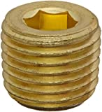 """Anderson Metals 56115 Brass Pipe Fitting, Hex Drive Countersunk Plug, 1/4"""" NPT Male Pipe"""