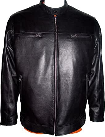 10177 Black Supple Real Genuine Lambskin Leather Casual Motorcycle Jacket Man...