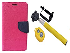 Novo Style Wallet Case Cover For Samsung Galaxy Grand/Samsung Galaxy Grand Duos i9082 Pink + Selfie Stick with Adjustable Phone Holder and Bluetooth Wireless Remote Shutter
