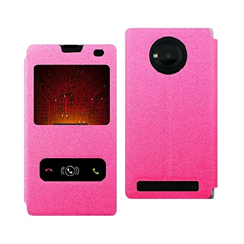 Zhopix Original Pudini Pu Leather Double window flip cover case for Micromax YU Yuphoria | Pink