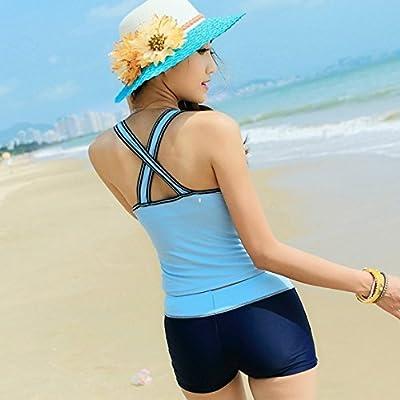 Buywish Women's Cross Back Sports Board Shorts 2 Pieces Swimwear Swimsuit