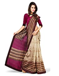 Inddus Women Beige & Pink Color Art Silk Fashion Saree