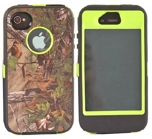 Huaxia Datacom Heavy Duty Hybrid Tough Grass Camo Shockproof Dirtproof Defender Case Cover Hard Case for iPhone 4 4S - Camouflage on Lime Green
