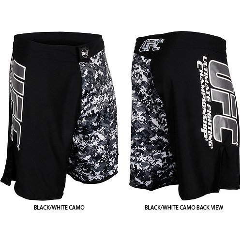 UFC Official MMA/Sports Black Grey Urban Street Camo Fight Shorts – Black/White Camo / Size 34