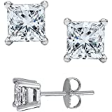 4.00 Carat 925 Sterling Silver Princess Square Cubic Zirconia Stud Earrings. ...
