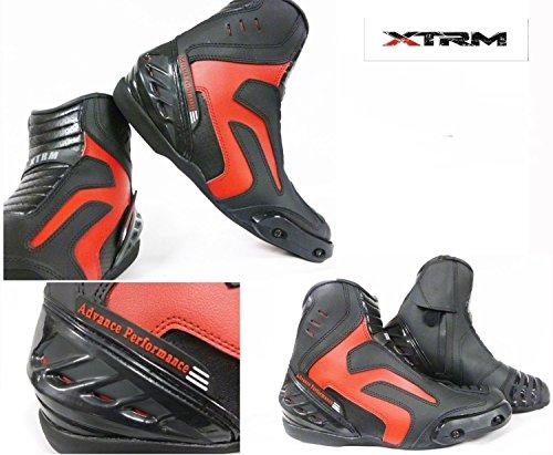 Stivali da Moto :XTRM X1016 EAGLE PADDOCK Avvio Stivale touring, Stivaletti Racing Urban, Scarpe da turismo (EU 45, Rosso)