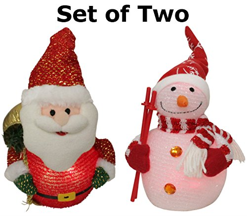 Christmas Light-Up Pals - Set Of Led Light Up Snowman And Santa Claus