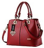 Tibes Damen PU Leder Handtasche mit Schulterriemen Wine Red