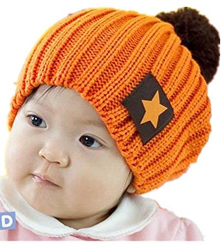 Viskey Cute Unisex Baby Pentagram Winter Beanies Knit Hat,Orange