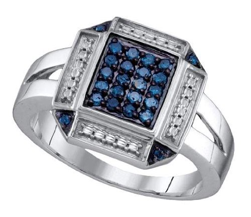 Sterling silver 0.25 Carat (ctw) Diamond Cluster Ladies Blue Diamond Ring