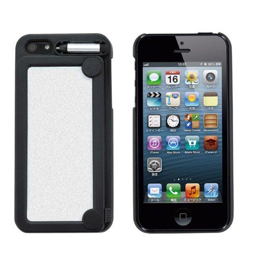 iPhone5用 お絵かきメモケース 「memotty for iPhone5」(メモッティー)何度でも書いて消せる便利なメモボード付きハードケース (ブラック memotty-ip5-BK)