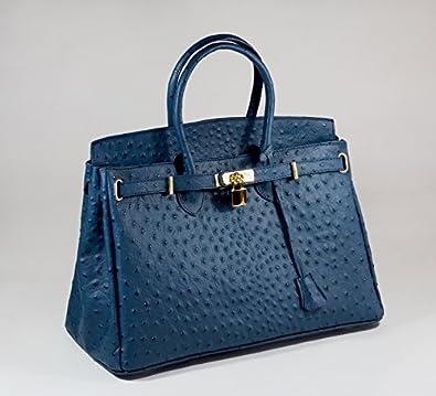 Sac à Main - CUIR Veritable - Fabriqué en Italie - genuine leather bag - Sacs OUTLET (BLEU)