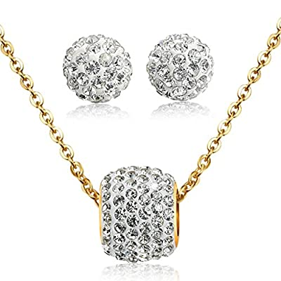 Jstyle Stainless Steel Cubic Zirconia Necklace for Women Ball Stud Earrings Jewelry Set Elegant