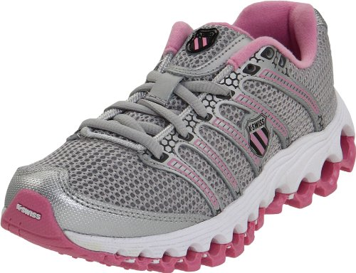 K-Swiss Tubes Run 100 Mesh Running Shoe (Little Kid/Big Kid),Silver/Begonia Pink/Charcoal,6.5 M US Big Kid
