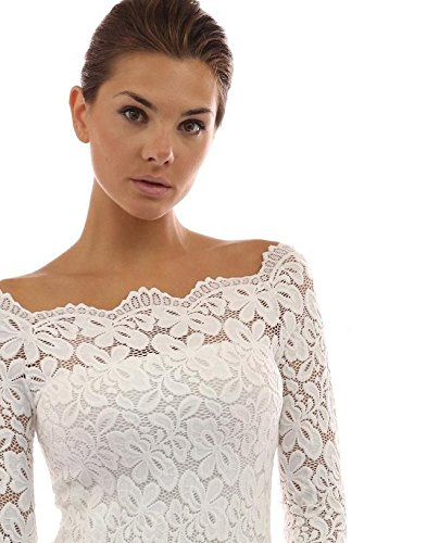Tkria Donna Pizzo Chiffon Senza Spalline Manica Lunga Maglietta Camicia Bianco,M