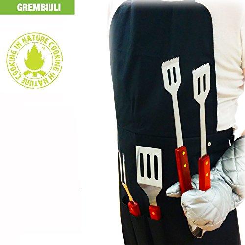 """Grembiule """"Cooking in Nature"""" Set di 5 pz completo Accessori e Attrezzi Barbecue (Tessuto & Guanto Proteggi Calore e Scottature)"""