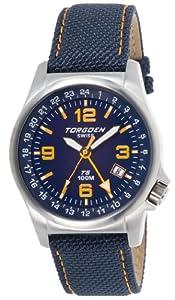 Torgoen Swiss Men's T05401 T5 GMT Blue and Orange Aviation Watch