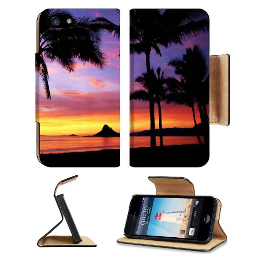 Hawaii Dreamin Palm Tree Sunset Apple Iphone 5 Flip Cover Case With Card Holder Customized Made To Order Support Ready Premium Deluxe Pu Leather 5 3/16 Inch (132Mm) X 2 11/16 Inch (68Mm) X 9/16 Inch (14Mm) Msd Iphone 5 Professional Cases Touch Id Gold Spe