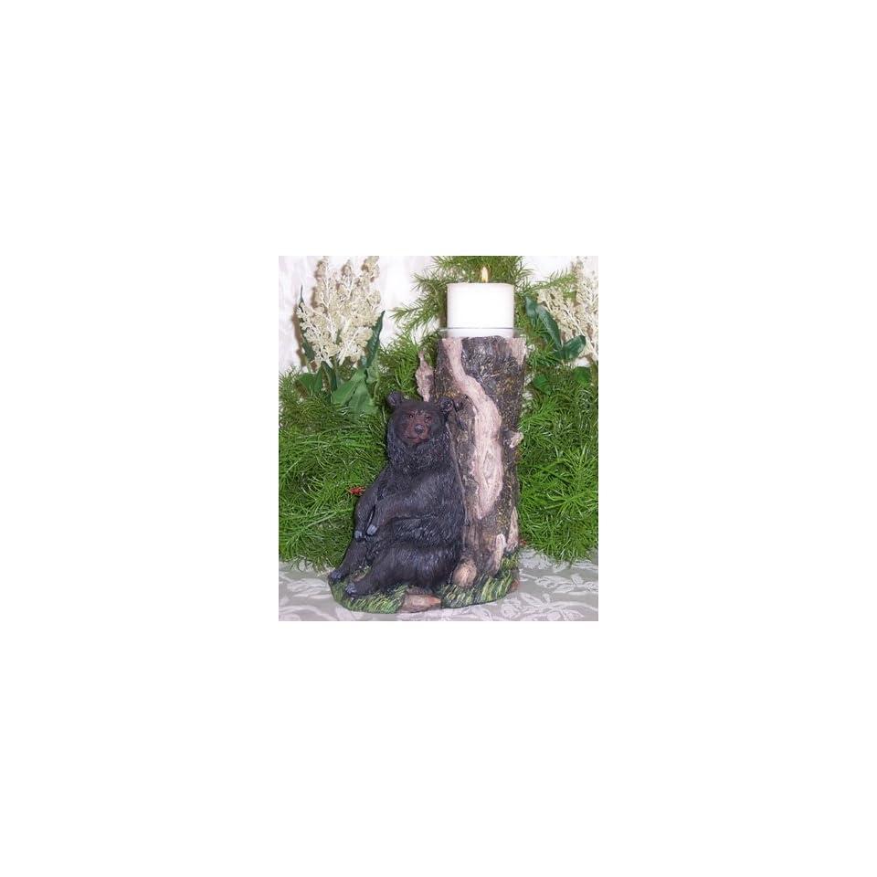 Votive Candle Holder   Black Bear Leaning Against Tree