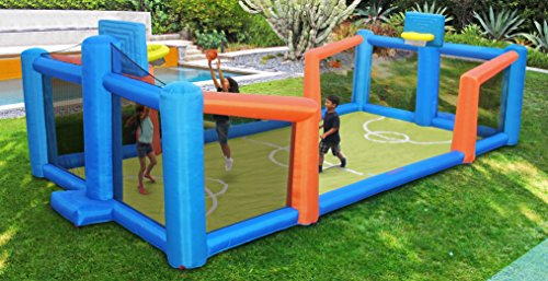 Outdoor Inflatable Basketball Court with Blower, Carry Bag, 2PC PVC Water Bags, and Ball - 28' x 12' x 7.5' (Mickey Mouse Costume Rental For Adults)
