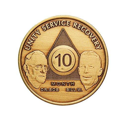 10 Month Bill & Bob Founders Edition Bronze AA (Alcoholics Anonymous) - Sober / Sobriety / Birthday - Anniversary Recovery Medallion / Coin / Chip