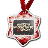Christmas Ornament Somebody in Washington DC Loves me, United States, red - Neonblond