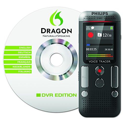 DVT2700 Digitales Diktiergerät (Inkl. Spracherkennungs-Software, kompaktes Aufnahmegerät, mp3 Recorder, Farbdisplay, 4GB Speicher, USB-Anschluss, Plug & Play, Win/Mac/Linux) anthrazit