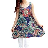 FINEJO Womens Boho Foral Print Sleeveless Maternity Chiffon Dress [Apparel]
