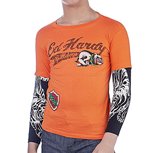Ed Hardy Kids Long Sleeve Bulldog T-Shirt - Orange - Medium