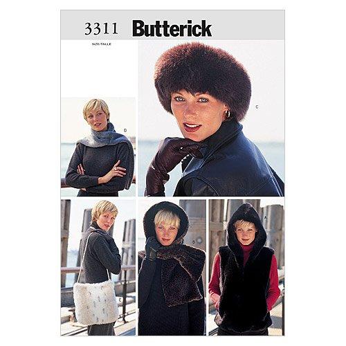 Butterick Patterns B3311 Misses' Vest, Headwrap, Headband, Scarf & Bag, Size MED (M-L)