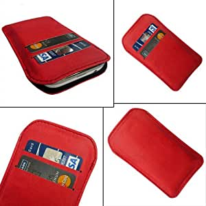 i-KitPit Quality PU Leather Pouch Case Cover For Karbonn S9 Titanium (RED)