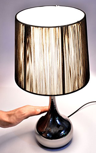 Eclipse Touch Chrome Finish Table Lamp 4 Way control: on/low, medium, high, off (Black Chrome)