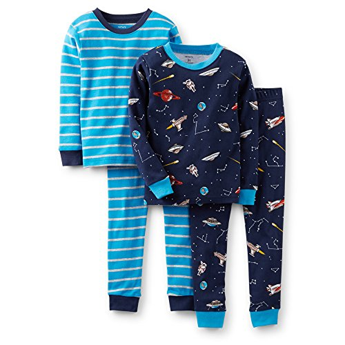 Carter'S Baby Boys' 4 Piece Pj Set (Baby) - Blue Stripe - 12 Months front-278957