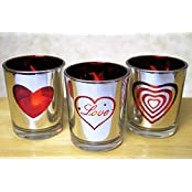 Glass Votive Candle Holders Metallic Silver & Red With Word Love And Heart Shapes Set Of 3 Assorted Three Flameless...
