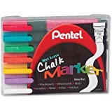 Brand New. Pentel Chalk Marker Waterproof Wet Erase Chisel Tip Assorted Ref SMW26-7 [Pack 7]