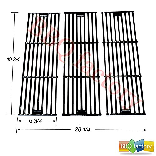 bbq factory 65051(3-pack) Porcelain Cast Iron Cooking Grid Replacement for Select Chargriller Gas Grill Models and Others
