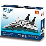F 15 Eagle Army Fighter War Plane 270pcs Building Bricks Air Force Military Destroyer Aircraft Battle Bomber Jet...