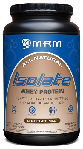 MRM 100% All Natural Isolate Whey Protein, Hormone And BSE Free, Chocolate Malt, 2.03-Pounds