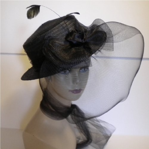 Widow or Goth Black Straw Hat with a Black Rose with Large Sheer Bow & Veil