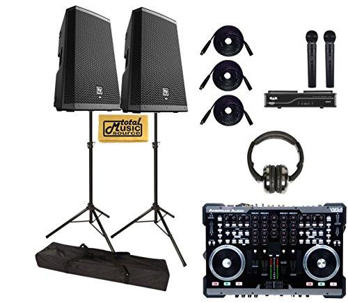 Ev Pro Dj Rig, Zlx-12P Speakers,Stands,Cables, Wireless Mic, Adj Vms4.1 Mixer