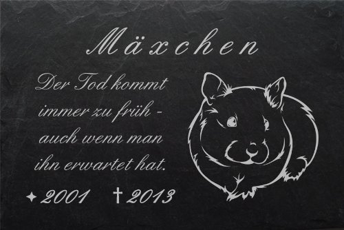 """Schiefertafel mit wetterfester Lasergravur """"Hamster-001"""" und Ihrem Text/Daten in der gewünschten Schriftart z.B. als Tiergrabplatte auf das Grab oder als Tiergedenkentafel für Zuhause"""