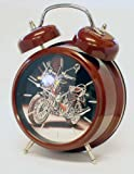 Motorcycle sound (with LED lights) twin bell quartz alarm clock in Red