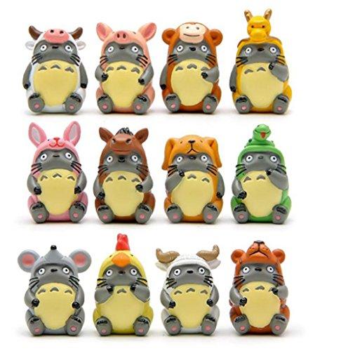 12pcs/lot DIY Zodiac Totoro Action Figure Toy Hayao Miyazaki Anime My Neighbor Totoro PVC Figures Model Toys Gifts for Kids