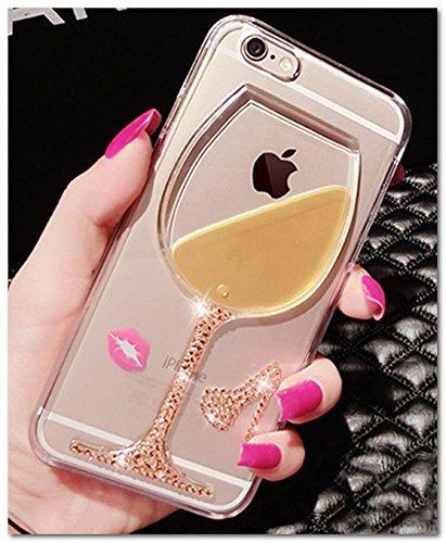 液晶保護フィルム付き iPhone6sケース 4.7 ハードケース デコ カバー/ iphone6 ケース キラキラ輝く かわいい ワイングラス アイフォン 6s/6 対応ケース カバーiphone 6S カバー  可愛い iPhone6/6s ケース iphone6S/6 カバー おしゃれ 格好良い 透明 クリア RKS150-152 (ゴールド)