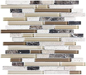 sample bliss cappucino stone and glass linear mosaic tiles