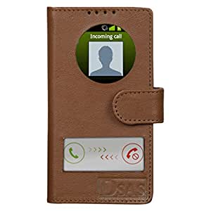 Dsas Geniune leather Flip cover with screen Display Cut Outs designed for INFOCUS M2